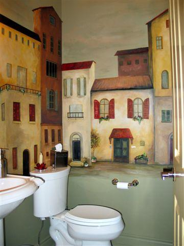 Exquisite Mural of Houses Around Perimeter of Powder Room