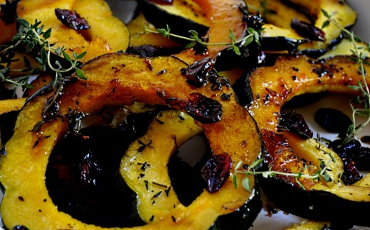 Baked squash is a delightful dish. especially when small squash are thin sliced and served with herbs and spices, such as cumin