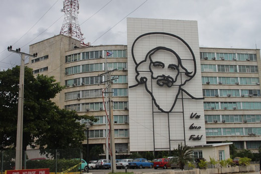 Cuba - Photo of Castro outline on building