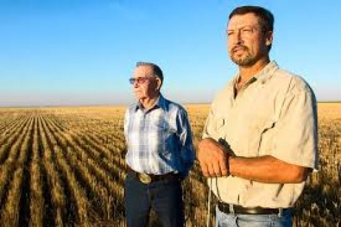 Two generations of wheat farmers