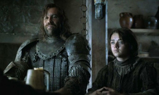 The Hound and Arya ordering some chicken