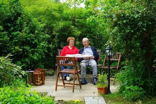 Couple talking in the terrace garden