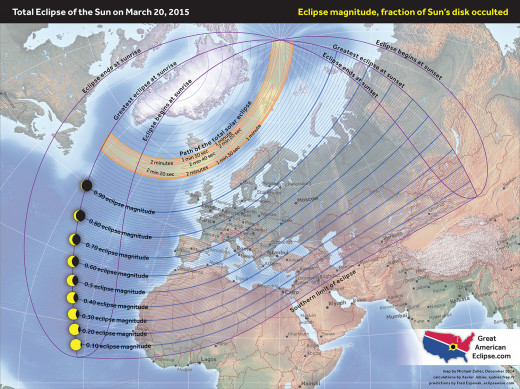 Map showing the extent of shadow, cast by the Polar Equinox eclipse