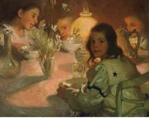 Tea Time, 1905, in the public domain.