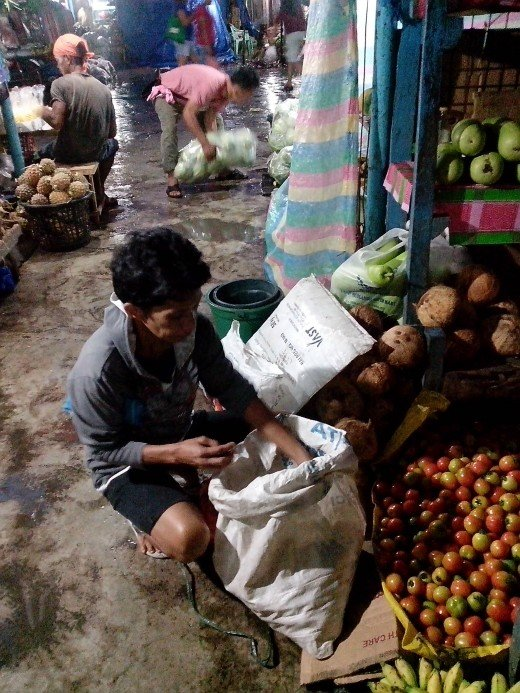 Photo Source: Ireno A. Alcala Vegetable vendor sorting out her newly-bought farm produce