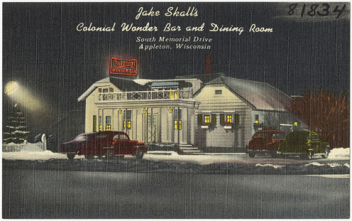 The historic Jake Skall's Colonial Wonder Bar and Dining Room during the Great Depression and WWII.