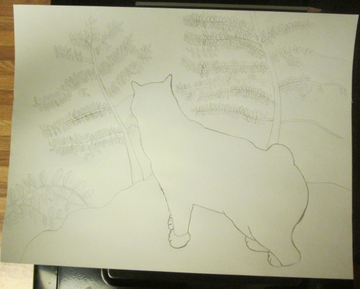 The image of Annie cat was lightly sketched in with pencil.