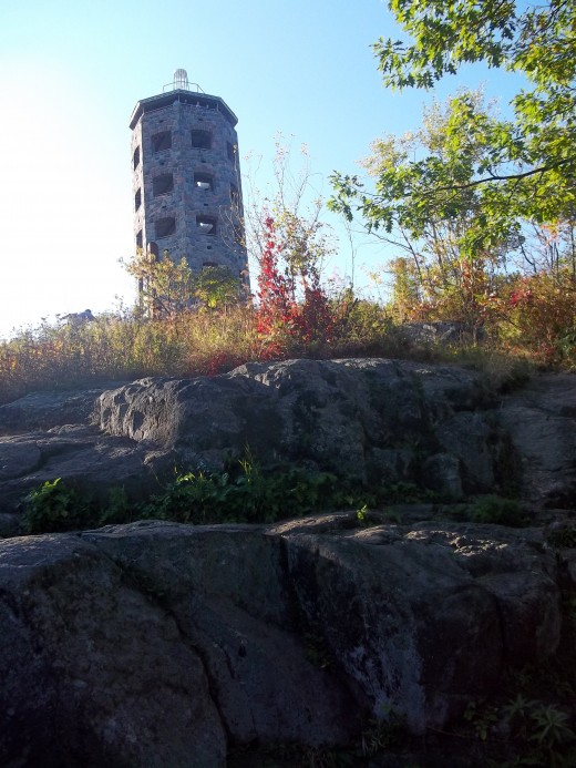 Enger Tower sitting high on the rocky hillside in Duluth Mn.
