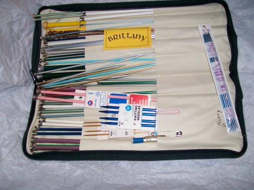 Long, short, double pointed, plastic, wood, and metal knitting needles.