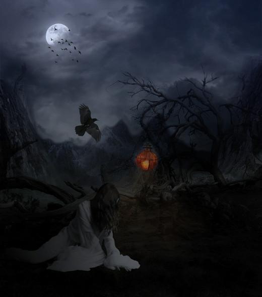 Scary creepy scene spooky