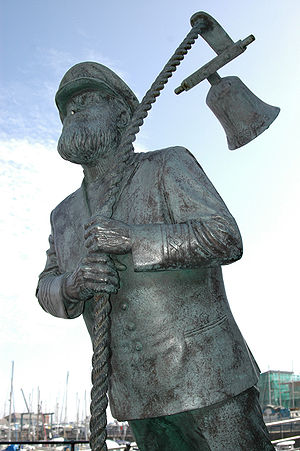 A statue in Swansea's Maritime Quarter representing Thomas's fictional Captain Cat
