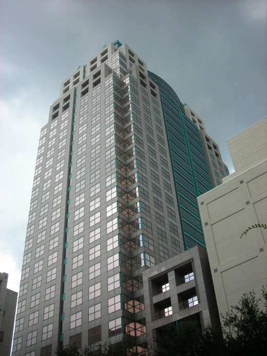 Located in the Central Business District of Orlando, the SunTrust Center skyscraper has 35 stories and 30 floors of usable office space.  Designed in contemporary postmodern style, the building was completed in 1988.