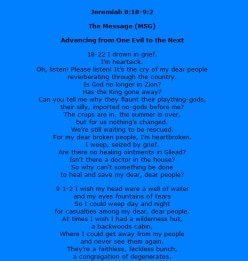 Jeremiah the Feeler: a look at Jeremiah 8:18-9:2