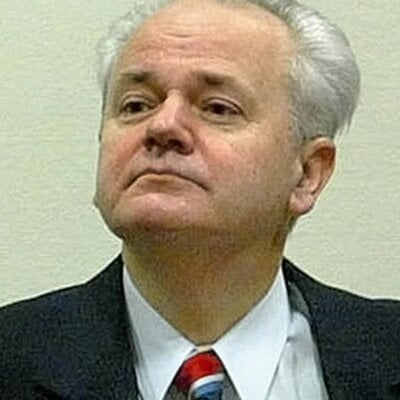 Milosevic's picture in International War Crime Court in Hague before more than sudden death.