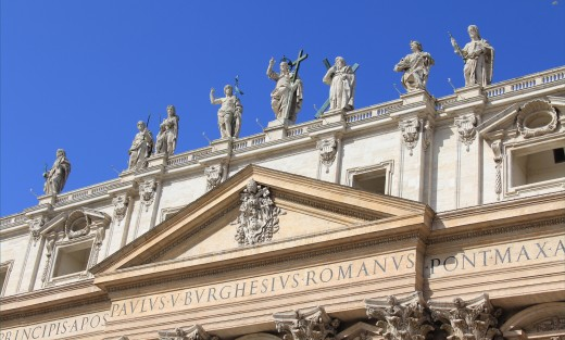 Statues On Top of St. Peter's Basilica