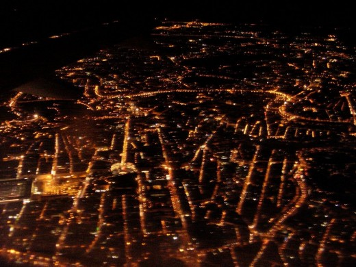 Rome from plane at night (Termini on the left, Vatican on the right)