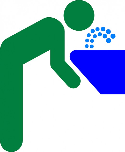 colorful clip art of person leaning over a drinking fountain