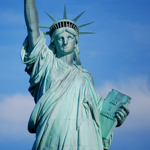 The Statue of Liberty represents freedom and hope