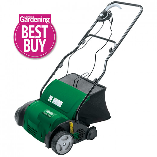 An electric scarifier makes light work of removing moss and other dead vegetation from lawns