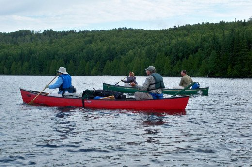 Our group canoeing in the Boundary Waters