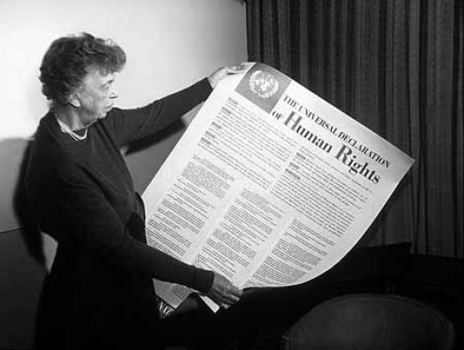 Eleanor Roosevelt with the U.N.'s Declaration of Human Rights