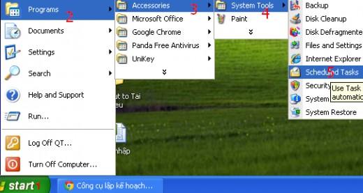 Open task: Start =  Programs =  Accessories =  System Tools =  Scheduled Tasks