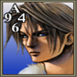 Squall's Triple Triad card. The card has a top side value of A (10), a right  side value of 4, a bottom side value of 6, and a left side value of 9. The right side and bottom should be protected while leaving the top and left side open for defense.