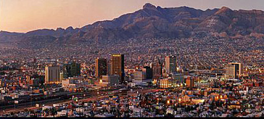 City of El Paso, Texas at dusk.