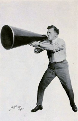 American director Thomas H. Ince using a giant megaphone, on page 138 of Peter Milne, Motion Picture Directing; The Facts and Theories of the Newest Art (1922).