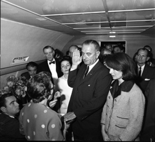 vice-president, Lyndon Johhson sworn-in on Air Force One Nov. 23, 1963,the day that John F. Kennedy was assassinated.