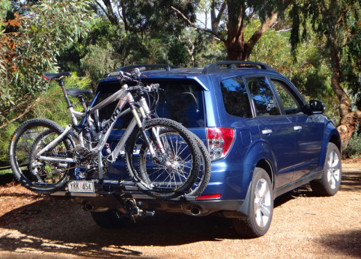 Subaru Forester with a bike rack
