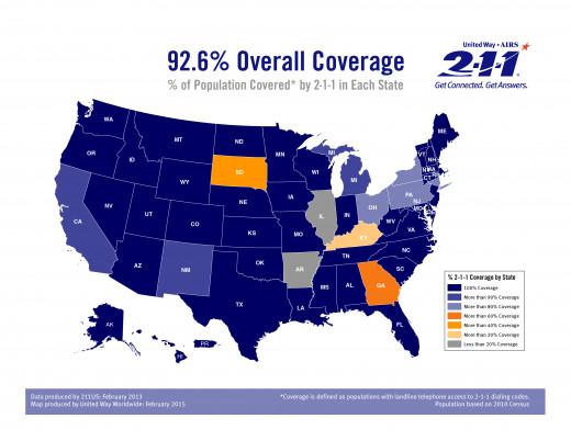 "National 211 Coverage Map , Blue means 100% coverage and ""coverage"" is defined as populations with land-line telephone access to 211 dialing , population based on 2010 census. Data[2013] and map [2015] both produced by UNITED WAY the creator of 211"