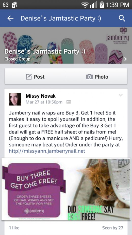 Jamberry parties can either take the form of a closed group...