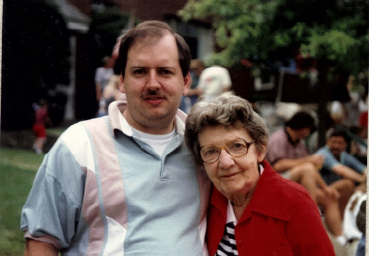 The Hub author and his mother Ruth Bachner in 1995 at a July 4th parade.