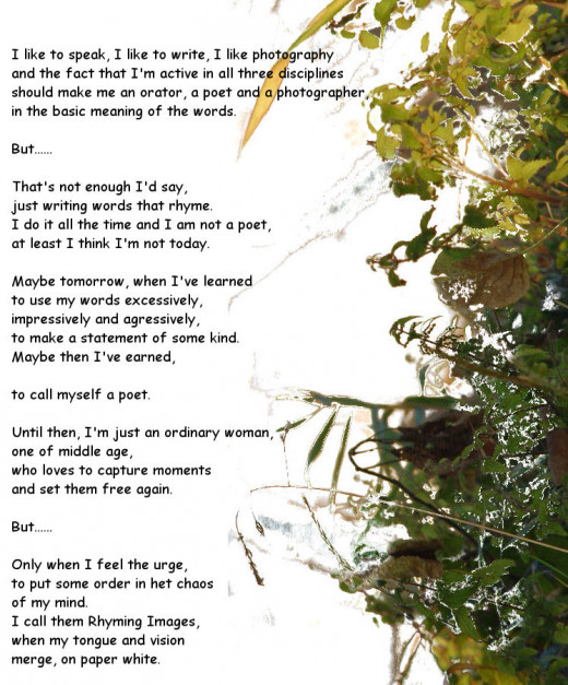 Photo of vegetation in my neighbourhood. I removed the background, rotated the picture and added white space on the left for the poem.