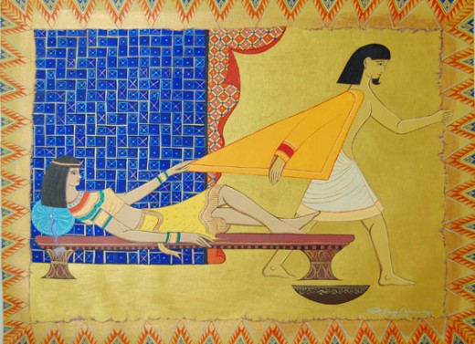 Potipher's wife tries to seduce Joseph.