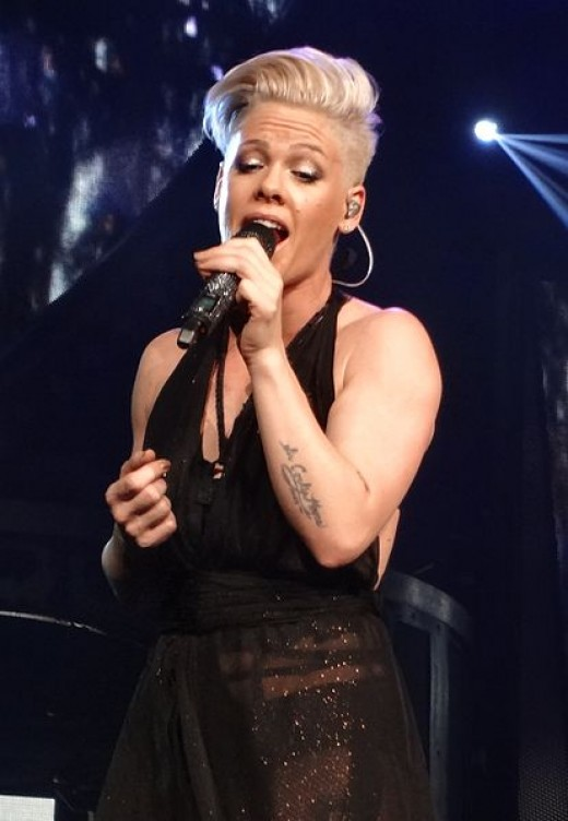 Pink performing live during her Truth About Love Tour in April 2013. Photo Credit - http://en.wikipedia.org/wiki/Pink_(singer)