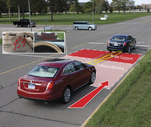 Rear End Collision avoidance systems are well developed. Similar systems could be used to adjust cruise control maximum speeds to speed limits by reading color-coded lines and markers on the road