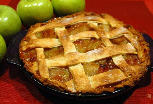 Apple pie with latice work or a crumb crust is typical of the Dutch apple pie recipe.