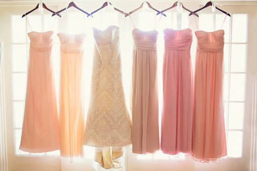 pink shade mismatch bridesmaid dress ideas