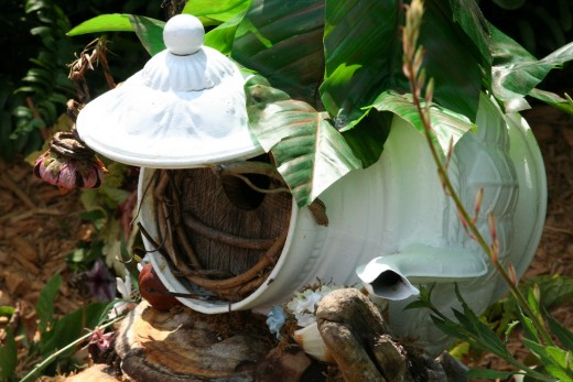 Pixies love small places as their homes...an old teapot is perfect to use!