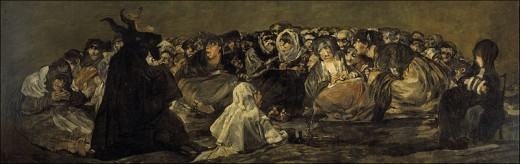 "The Witches Sabbath (The Great He-Goat) by Francisco de Goya y Lucientes. Many accused witches were said to meet in the woods to worship the ""horned"" devil."