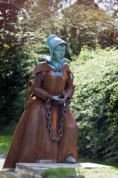 An existing statue of Alice Nutter, one of the accused and hanged Pendle Witches.