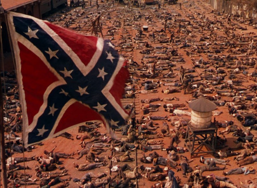 An example of serendipity: As cinematographer Ernest Haller drew back from the scene of the war casualties in Atlanta, he accidentally filmed a Confederate flag that was being used as a prop.