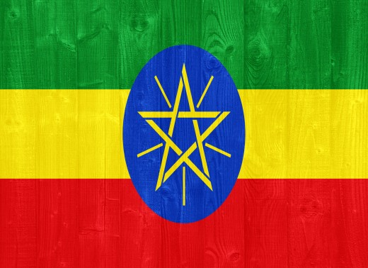 The Ethiopian flag with the Star of David on the inside.