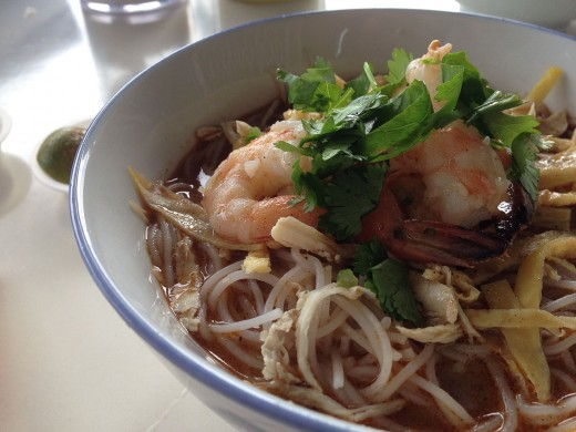 The texture of bean sprouts, meat and seafood fresh herbs and vegetables and the noodles makes a laksa a special treat as a snack or main meal dish