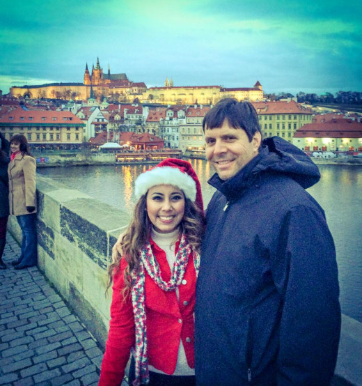 With my daughter in front of Prague's famed Charles Bridge. The journey to the Bohemian wonderland was epic in scope.