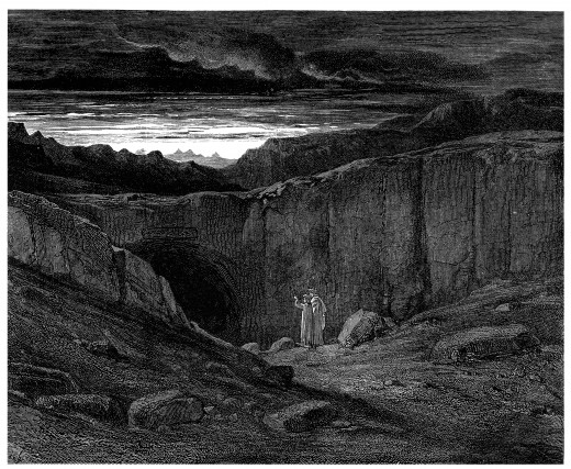 "Gustave Doré's illustration to Dante's Inferno. Plate VIII: Canto III: The gate of Hell. ""Abandon all hope ye who enter here"""