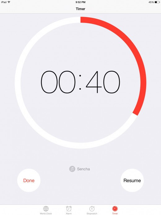 Minute timer on an ipad