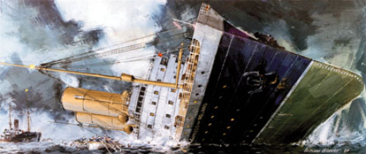 An artist's depiction of the Empress of Ireland's final moments.